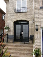 Double Fiberglass Door with beautiful Miliano Serenne Wrought iron Design and transom