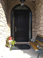 Arched Frosted Transom and Shaped Sidelites with Wide Single 2 Panel Mastergrain