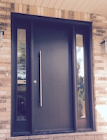 Modern Mastergrain Fiberglass door with Acid Frost glass sidelites with pull bar