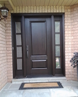 Traditional Flattop Mastergrain Fiberglass single door with 2 panel sidelights with SDL