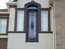 Mastergrain Full Frosted Glass and Transom with External Iron grill