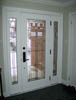 Mastergrain Full Glass Doorlite with Panel Sidelites and Decorative Glass
