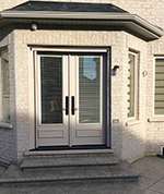 8 ft Steel Garden Door with executive mouldings and builtin mini blinds