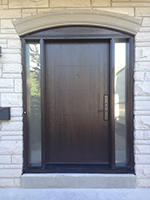 42 inch Laser Etched Fiberglass contemporary door with Acid Frost Sidelites with multipoint lock