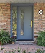 Contemporary Fiberglass door with custom colour acid frost glass in sidelite and multipoint lockr